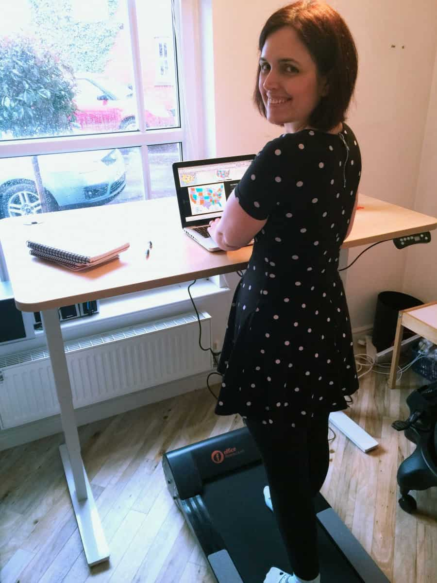Kath Kyle working on her treadmill desk