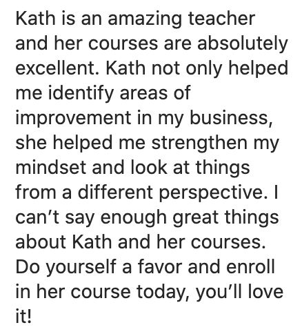 Kath Kyle Dream Business Blueprint Testimonial