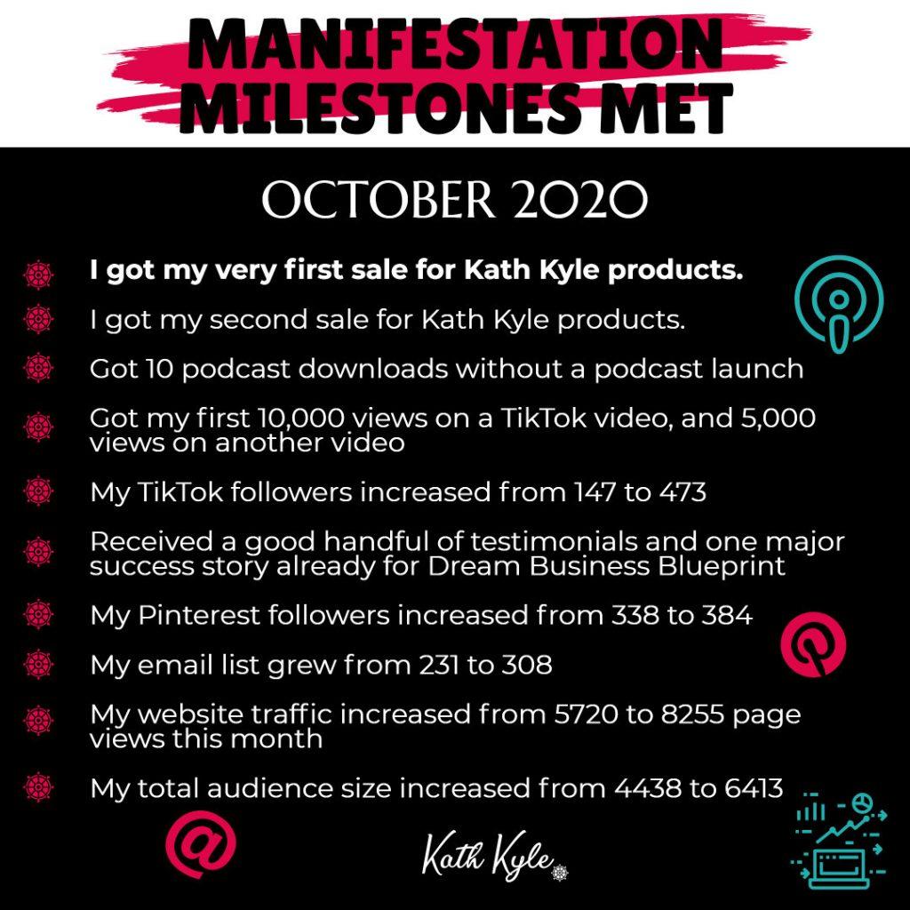 October 2020 Manifestation RESULTS: Income Report, Goals Update & Reflection